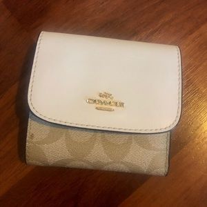 Coach Signature PVC Leather Trifold Small Wallet